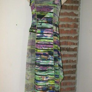 Joseph Ribkoff Dress Multi Color 8 Lined Ruffles